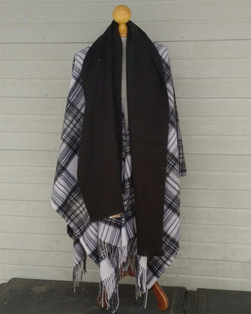 Dress Black and White Steward Blanket Cape Forever Tartan